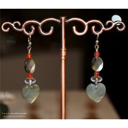 Coeur Labradorite, quartz incolore